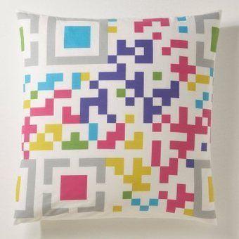 #QR Code sui cuscini - - #qr code in pillows  - -  Taie d'oreiller carrée, imprimé code pixelisé