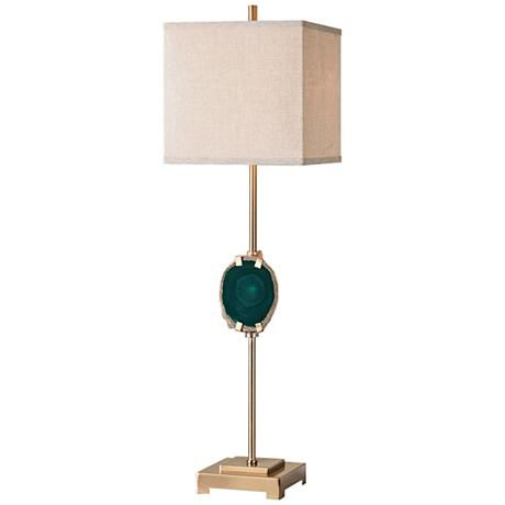 Accented With An Emerald Agate Stone At The Center This Brushed Brass Table Lamp Is Topped With