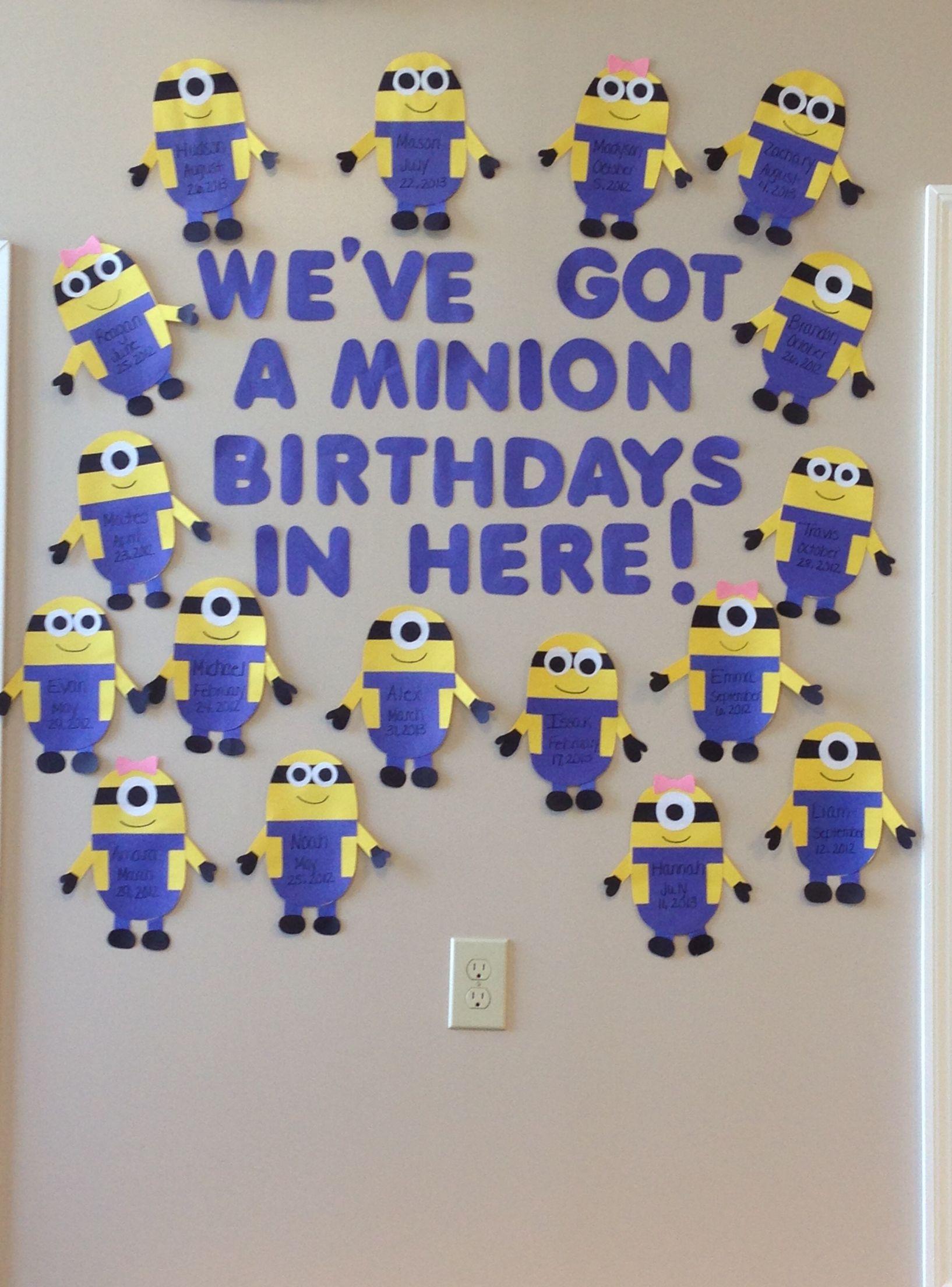 Minion birthday wall. #minions #birthday #classroom # ...