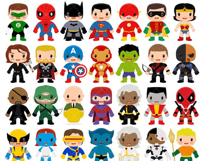 Super Heroes Animados Niños: 18 Boys Superhero Costumes Clipart, Superheroes Clipart