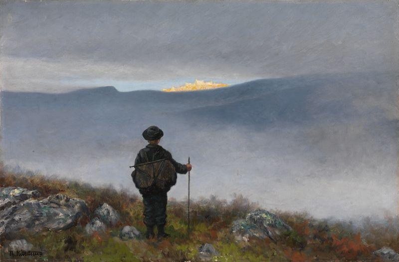 """Theodor Kittelsen, """"Langt langt borte saa han noget lyse og glitre"""" – Nasjonalmuseet – Samlingen"""