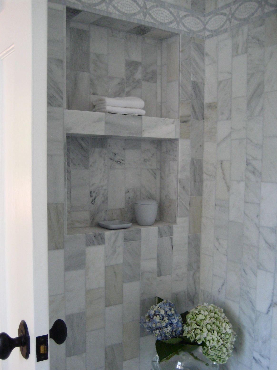 Classic Carrara Marble Shower Niche Ann Sacks Decorative Shower Tiles Doheny Los Angeles California Ht Shower Niche Bathroom Interior Design Marble Showers