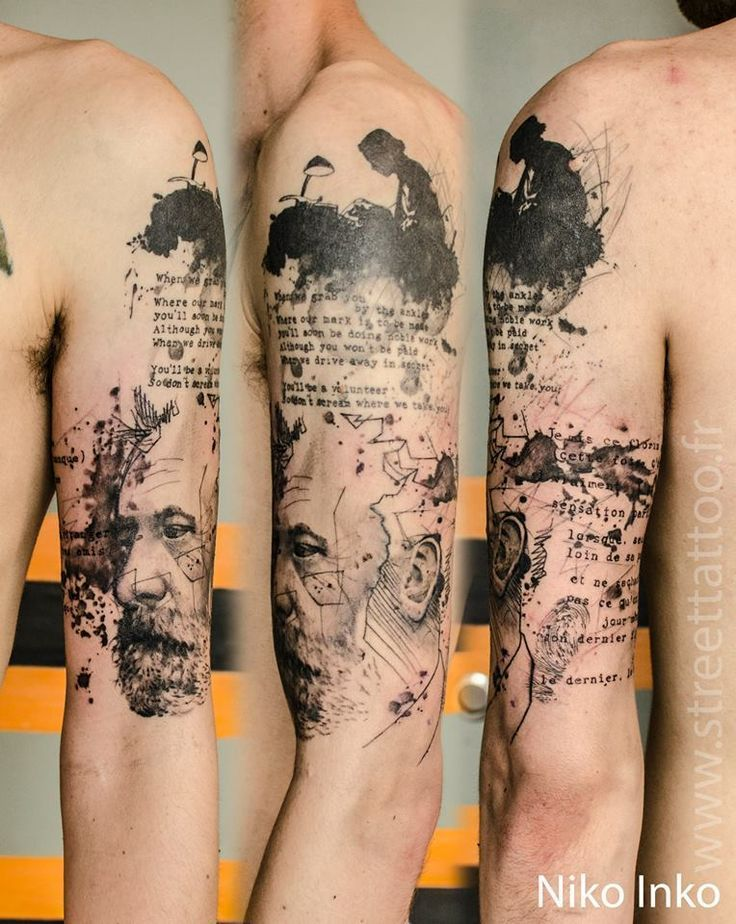 Abstract sleeve tattoo with portrait script sleeve