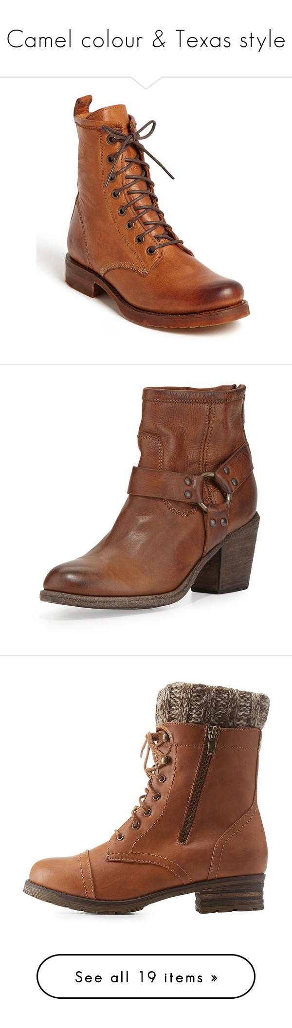 """Camel colour & Texas style"" by lorika-borika on Polyvore featuring shoes, boots, ankle booties, ankle boots, dark brown leather, short leather boots, low heel booties, slouch ankle boots, leather booties и military boots"