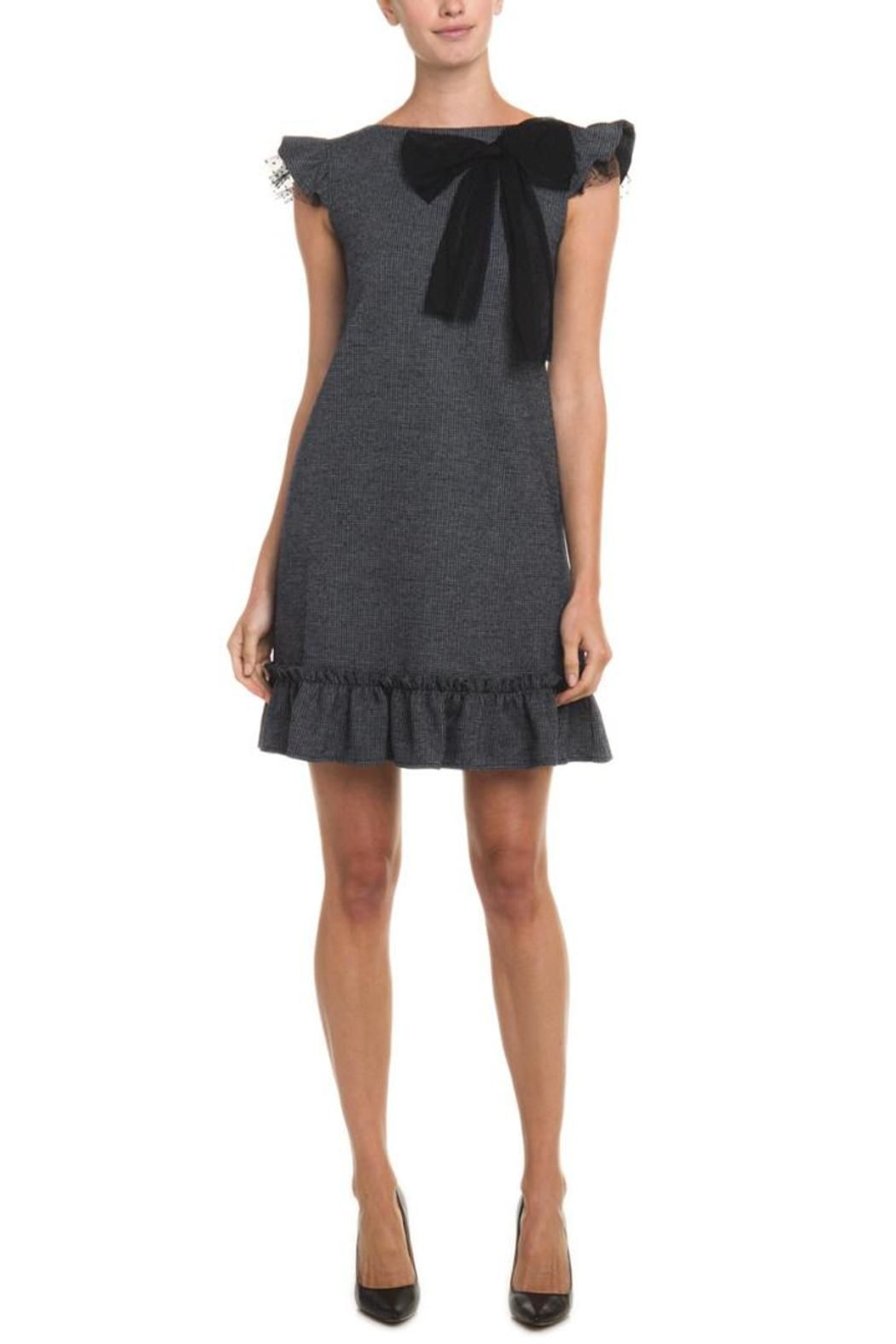 Red valentino grey bow dress tulle bows black heels and houndstooth