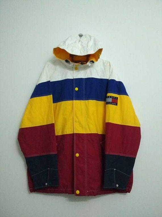 6053931b Rare!! Vintage 90s TOMMY HILFIGER Multicolor Hoodie Windbreaker ...