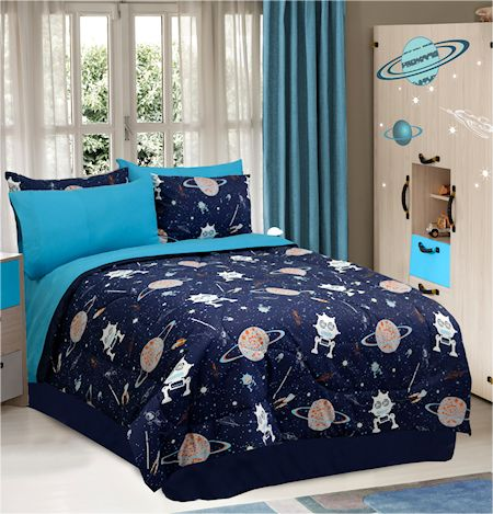 Aliens Galaxy Space Bedding Twin Full Comforter Set Or Bed