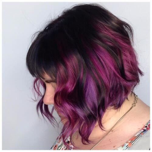 purple highlights on wavy bob