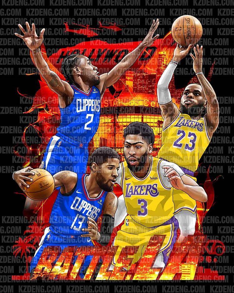 Instagram 上的 Kevin Deng Nbaart Nba Lakers Clippers Lbj Lebronjames Basketballart Losangeles Paulg Lebron James Lakers Basketball Players Nba Nba Mvp