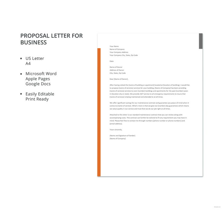 Free Proposal Letter For Business Template Word Doc Google Docs Apple Mac Pages Outlook Proposal Letter Business Proposal Letter Letter Templates