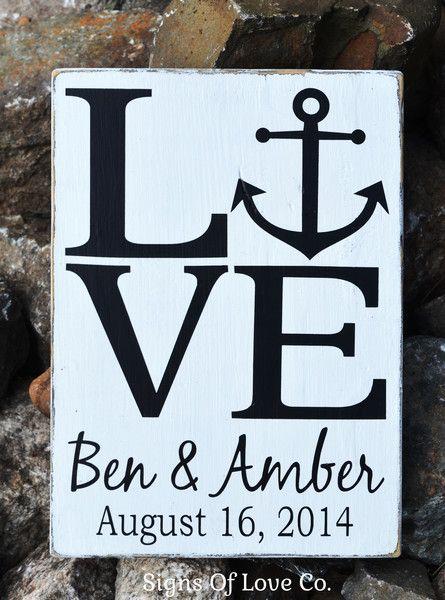 Beach Wedding Sign Personalized Weddings Gift Ideas LOVE Nautical ...