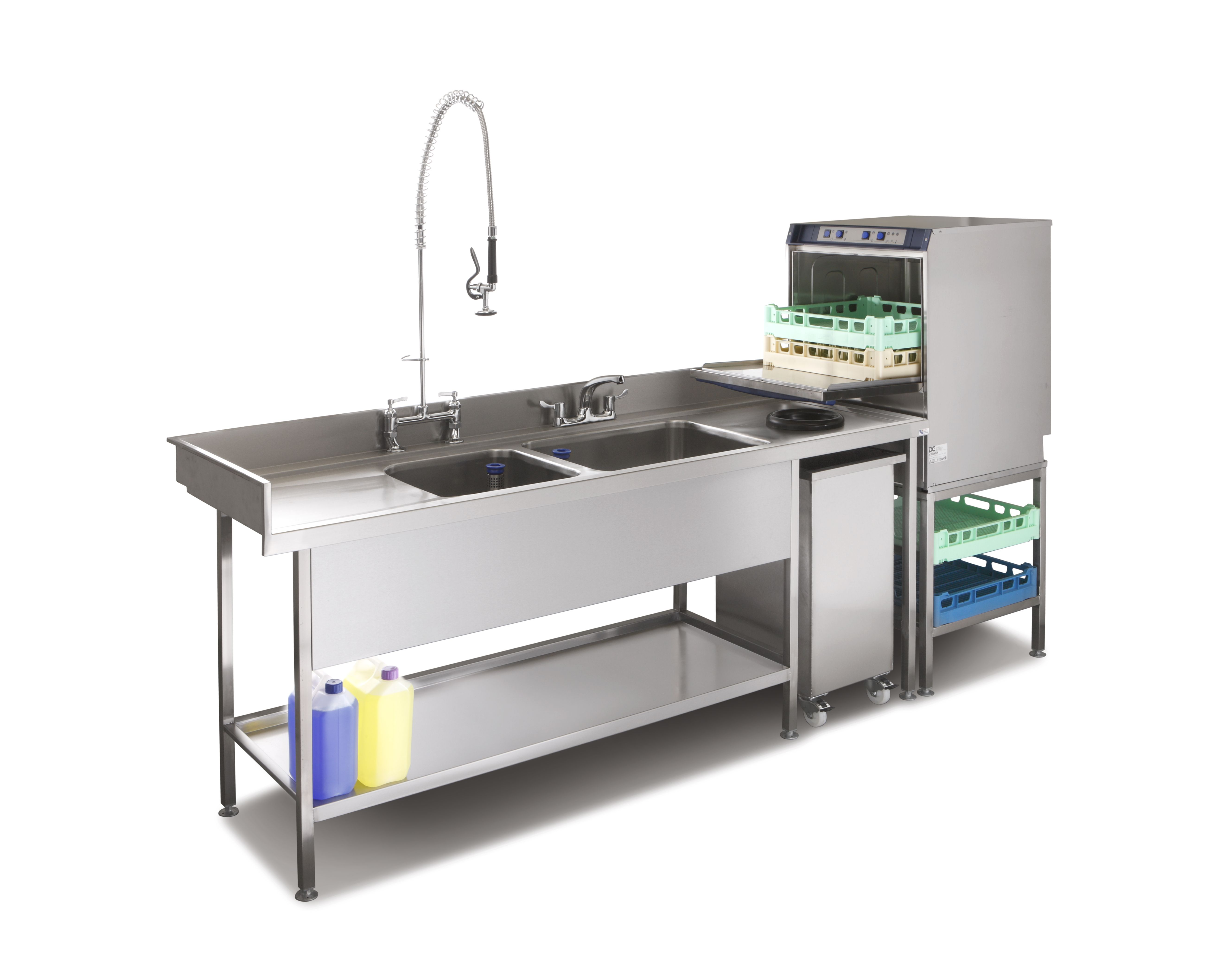 industrial kitchen supplies country style table pot wash sink and commercial dishwasher combination