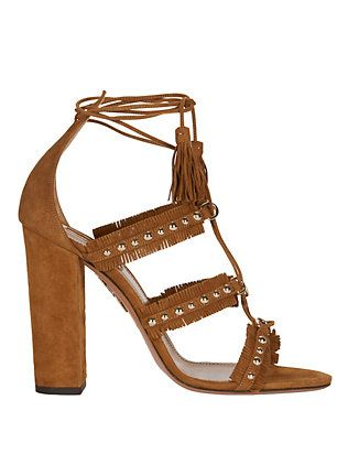Aquazzura Tulum Grommet Lace-Up Sandal: Brown