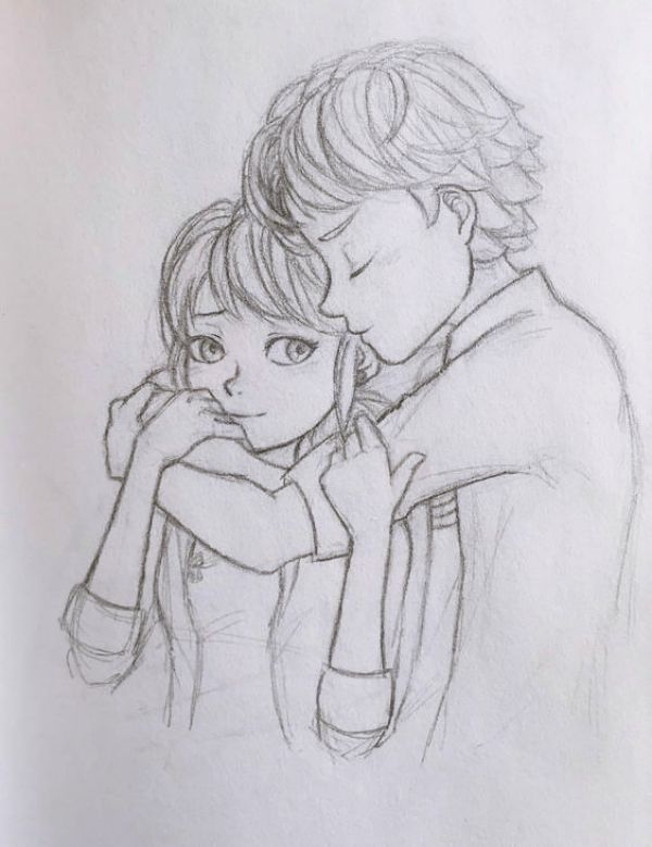 40 Romantic Couple Hugging Drawings And Sketches Dessin