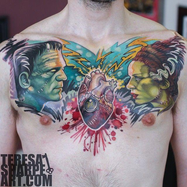 Frankenstein Tattoo On Pinterest Zombie Tattoos Dracula Tattoo Chest Piece Tattoos Frankenstein Tattoo Tattoos For Guys