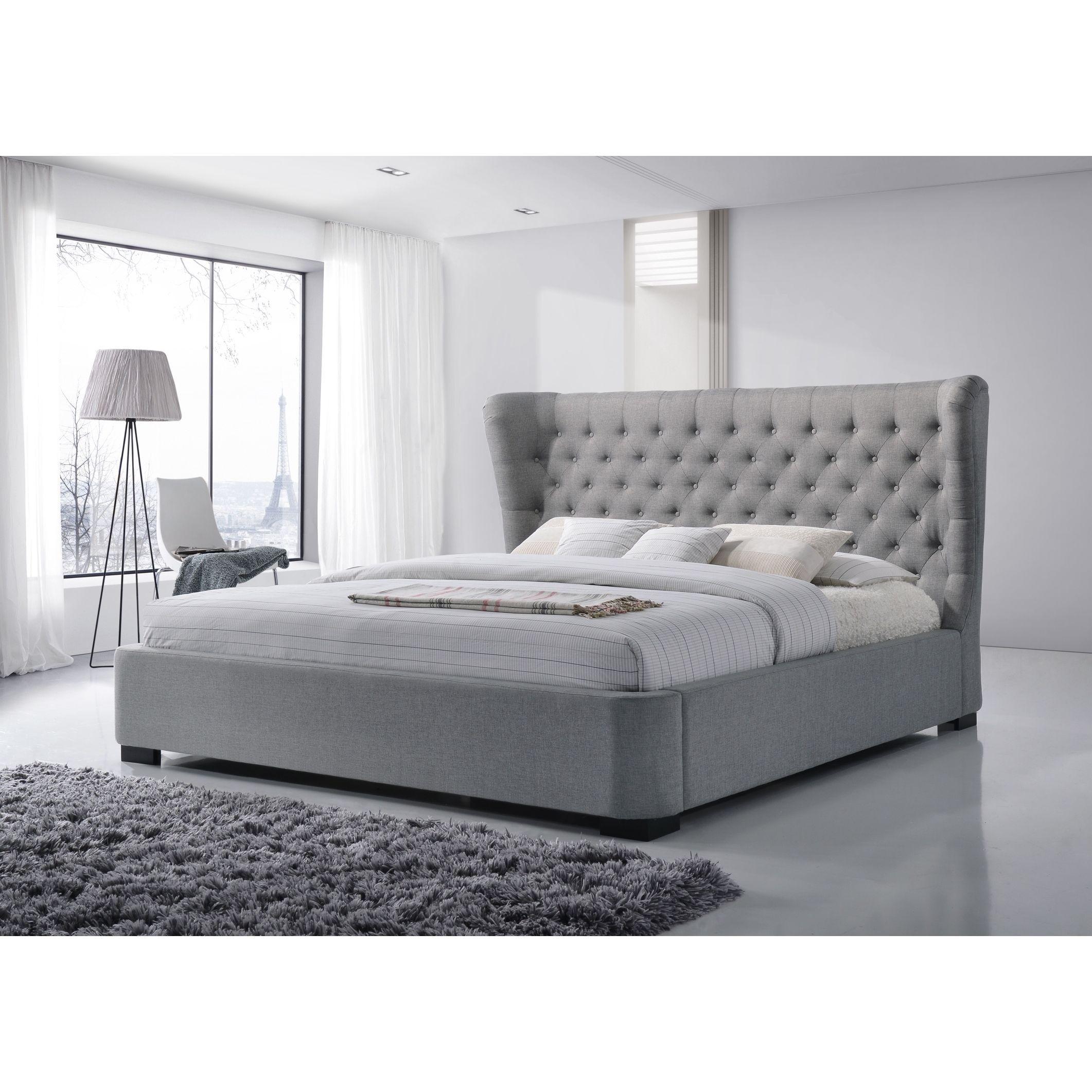 Manchester King Size Tufted Wing Upholstered Grey Platform Bed 1 399 99 At