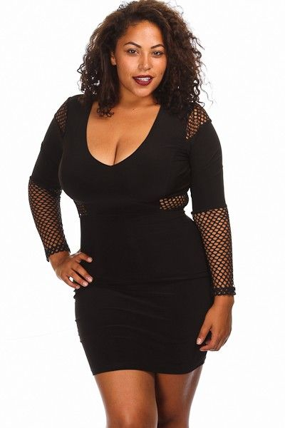 Plus Size Long Sleeve Fishnet Bodycon Dress Availability: In stock ...