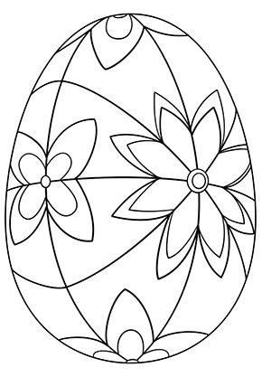 ausmalbild osterei mit bunten blüten zum ausmalen. ausmalbilder | malvorlagen | ostern |