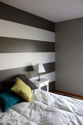Grey And White Striped Accent Wall Home Apartment Decor Home Deco