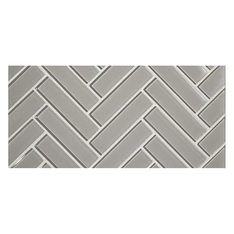 Glass Expressions Tile Herringbone Glass Mosaic Grey In Clear