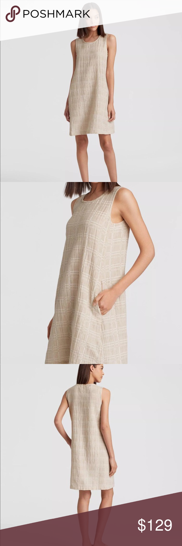 3ba591e5140 New Eileen Fisher Shift Dress Organic Linen Large Brand new with tags Size  Large Organic linen