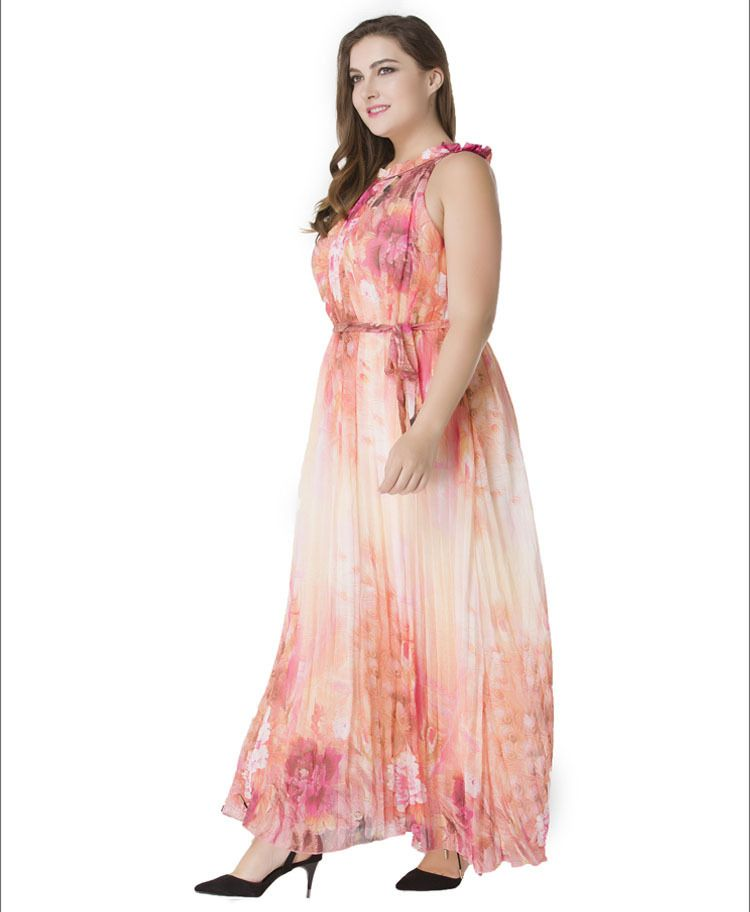 2cb7c0e6ae US$ 17.56 Fashionable Design Fat Women Large Plus Size Chiffon Maxi Dress  Flower Printed Sleeveless Pink Long Dress