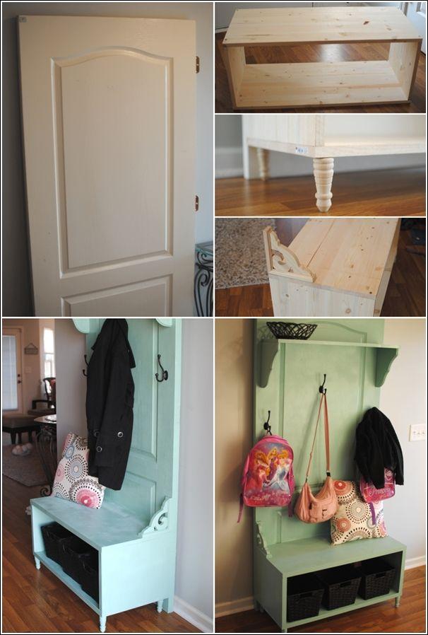DIY old door to entryway bench!! seems simple enough! Laundry