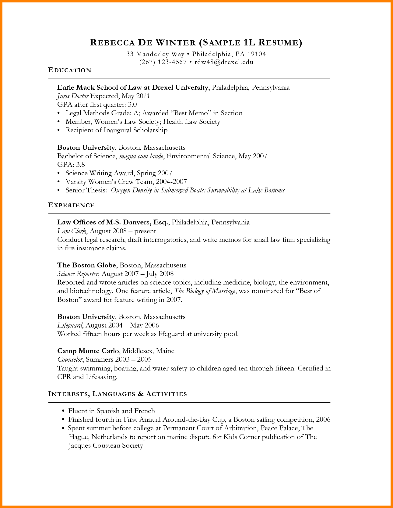 personal statement examples for resume 10 resume for law school application resume law school resume - Marine Science Resume Examples