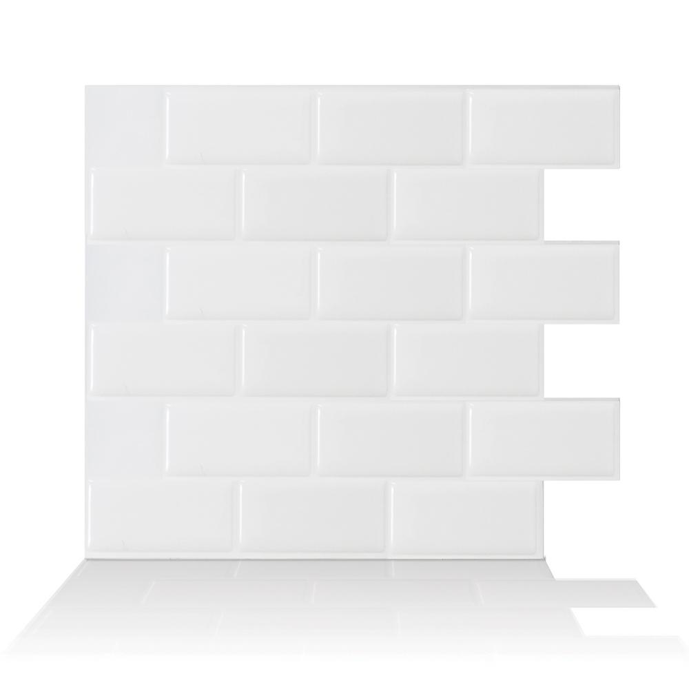 Smart Tiles Subway White 10 95 In W X 9 70 In H Peel And Stick Self Adhesive Decorative Mosaic Wall Tile Backsplash 12 Pack Sm1020 12 The Home Depot Smart Tiles Self Adhesive Wall Tiles