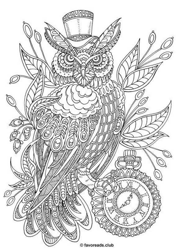 Steampunk Owl Printable Adult Coloring Page From Favoreads