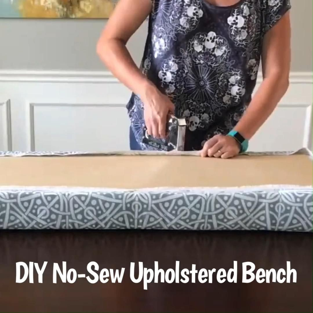 How to Make a No Sew Upholstered Top for a Bench or Window Seat. DIY Upholstered Seat or Top for a Table. Steps and how-to video.