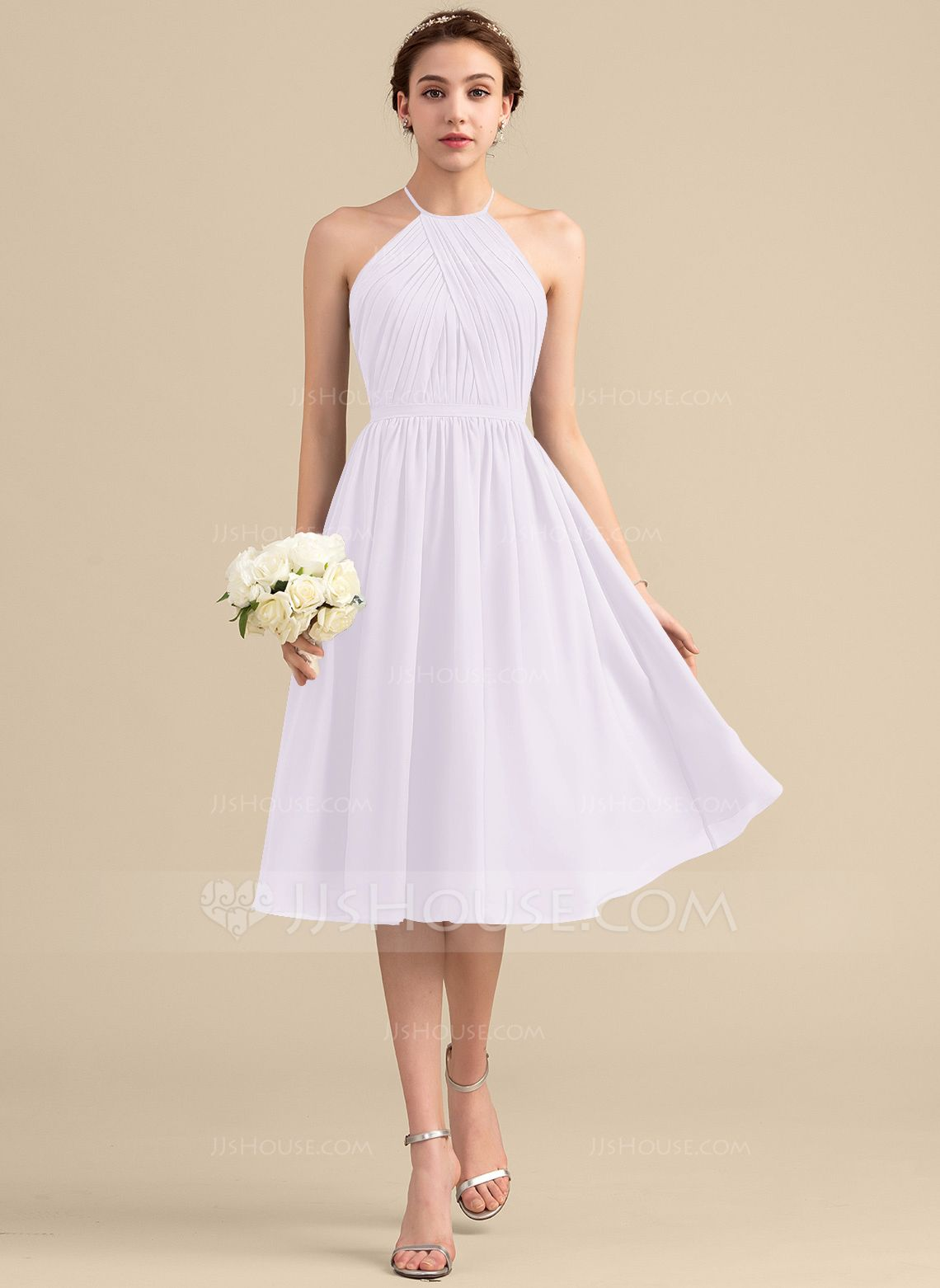 351c0c24680c A-Line/Princess Scoop Neck Knee-Length Chiffon Bridesmaid Dress With Ruffle  (007153362) - Bridesmaid Dresses - JJsHouse