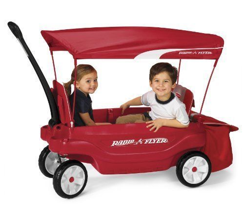 Kids Red Wagon Todller Joy Ride Shade Canopy Pull 4 Wheel