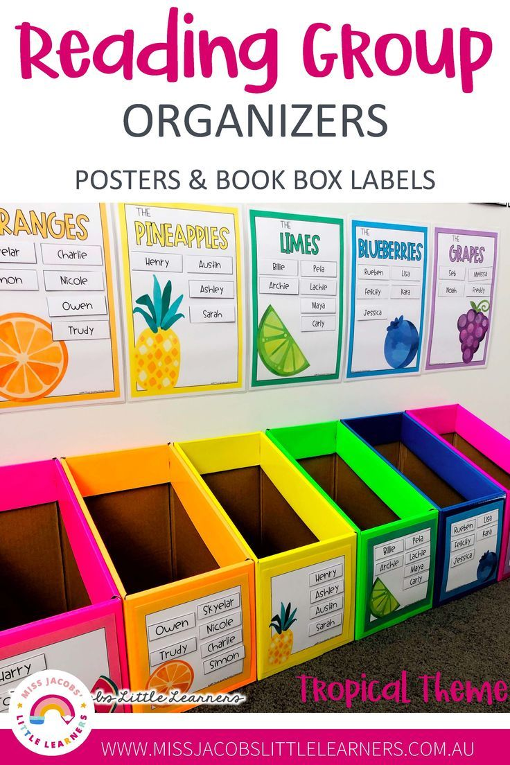 Tropical Fruits Reading Group Organizers - Posters & Labels. Keep your reading groups visible and organised for yourself and your students by using these brightly coloured tropical posters and labels in your classroom. #ClassroomOrganization #ClassroomDecor #ReadingGroupOrganization