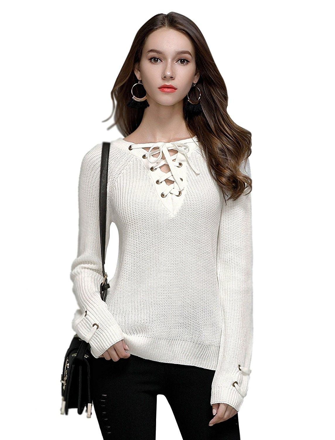 21071bb4375a Women s Lace Up Front V Neck Long Sleeve Knit Pullover Sweater Top - White  - C9185GKDDMX