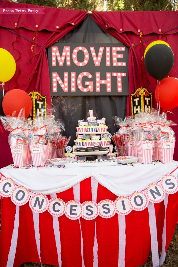 Movie Party Decorations Printables RED Vintage, Movie Night Party Package, Party Supplies, Invite, Birthday, Sign, Popcorn INSTANT DOWNLOAD