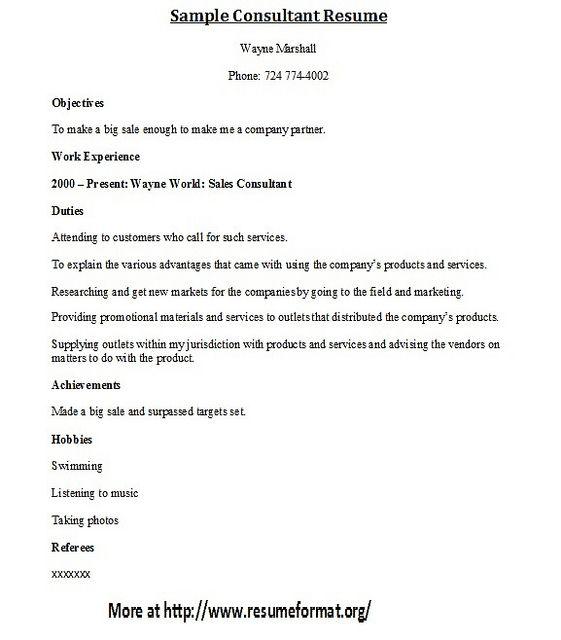 For More Consultant Resume Formats Visit: Www.Resumeformat.Org