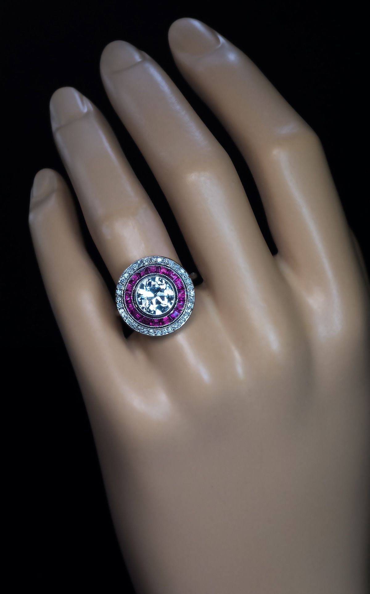 Art deco carat diamond ruby engagement ring