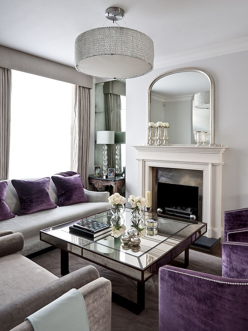 Marvelous Art Deco Living Room With Splashes Of Purple And Mirrored Coffee Table  [Design: Gemma Zimmerhansl Interior Design] Eyebrow Makeup Tips