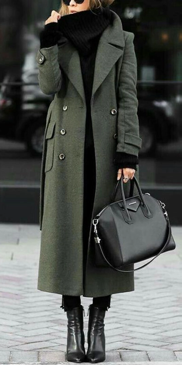 Photo of Women Classic Turn-Down Collar Elegant Trench Long Coat