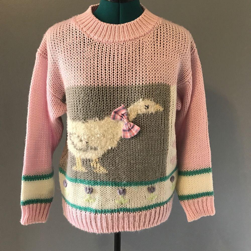 Details about Vintage Pastel Pink Duck Sweater 80s 90s Kitsch ...