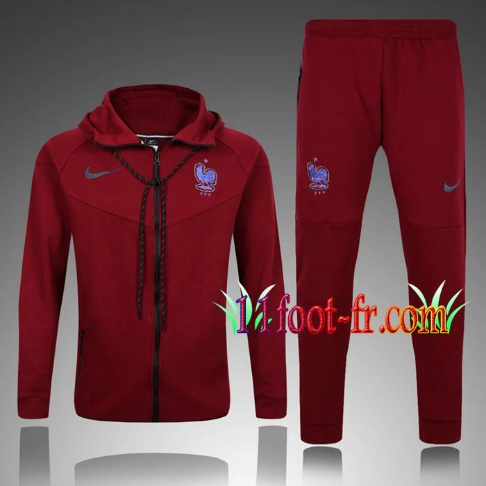 Survetement Foot de Sweat a Capuche France Rouge 2017 2018  a9320db93ff