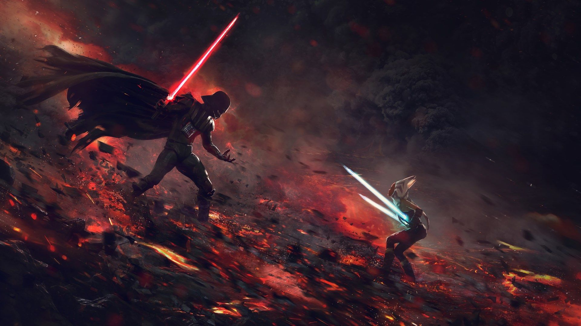 1920x1080 Star Wars Download Hd Wallpaper For Desktop Star Wars Wallpaper Darth Vader Vs Ahsoka Darth Vader Wallpaper