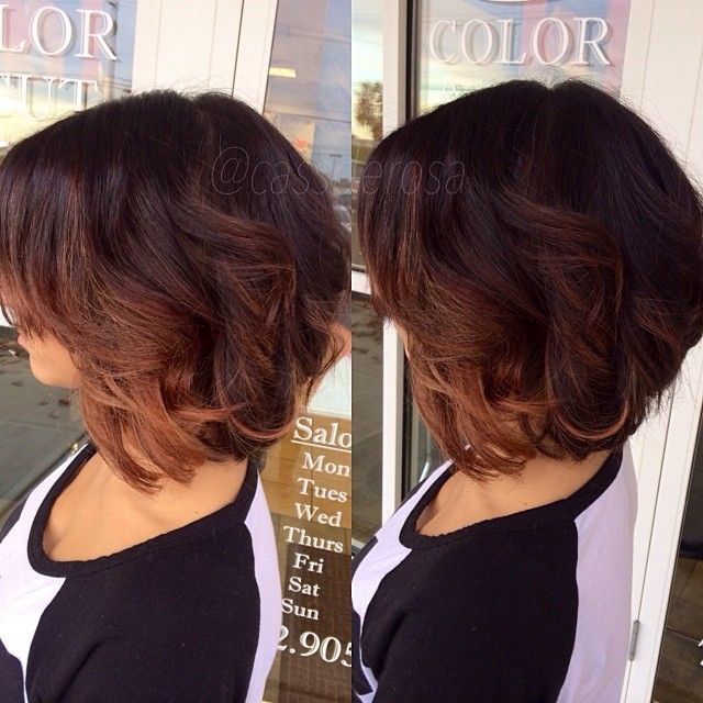 Ombre On Short Hair The Color Is Too Dark But I Like The Placement Of The Highlights For My Mom Hair Styles Short Ombre Hair Short Wavy Hair