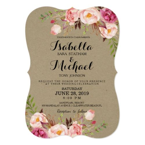 Rustic floral wedding invitationkraftpaperprintbg card floral rustic floral wedding invitationkraftpaperprintbg card stopboris Images