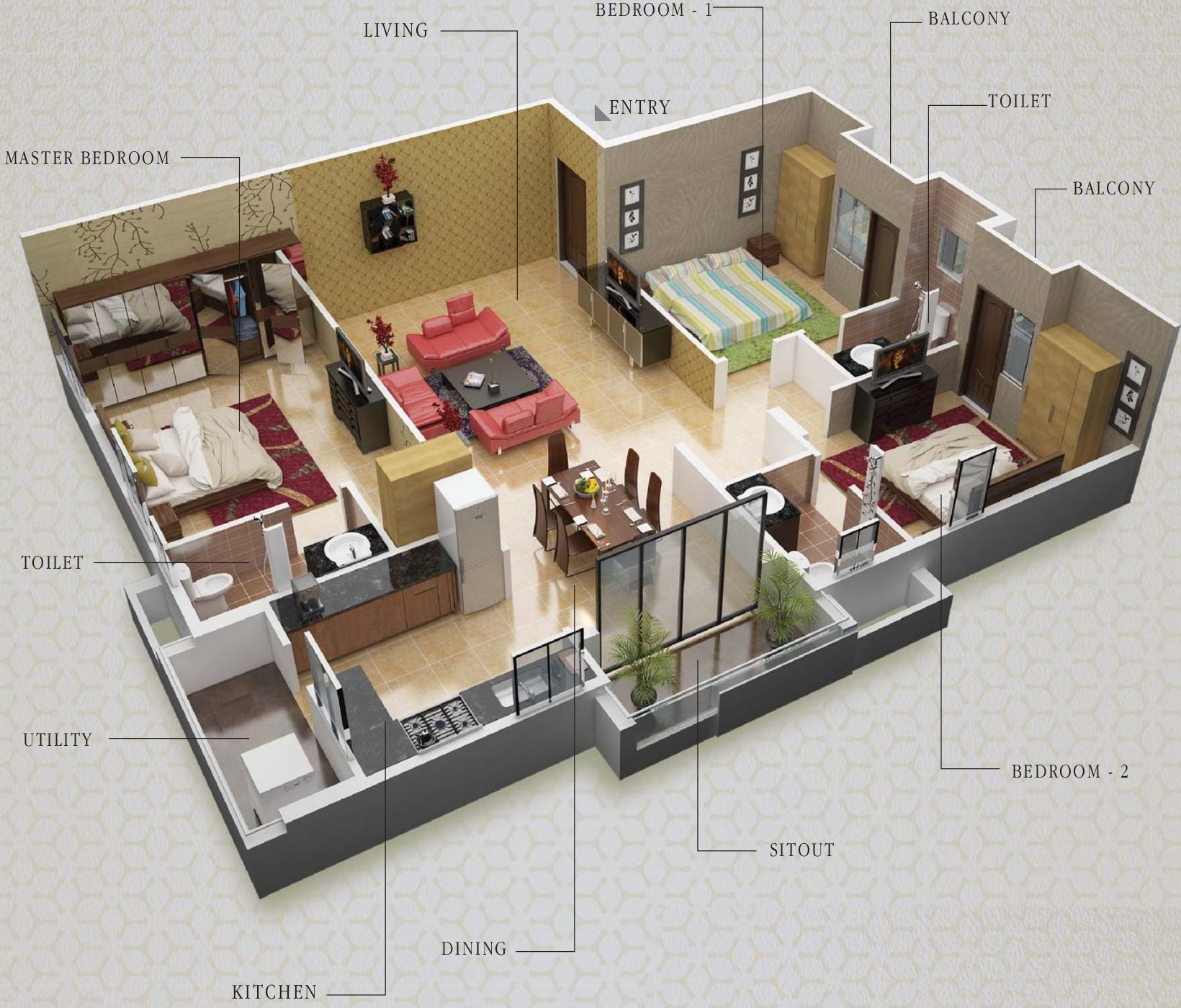 Dharma construction residency floor plan 3bhk 3t 1 795 for 1 bhk living room interior