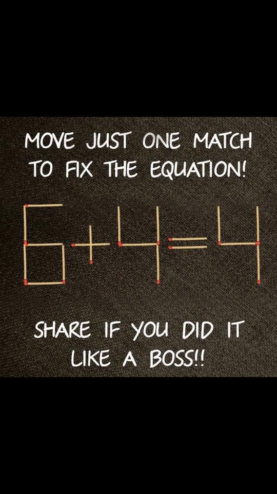 Move The Match In To Open E 6 And It Will Become 8 4 This Answers Equation Bella Cek Was Easy