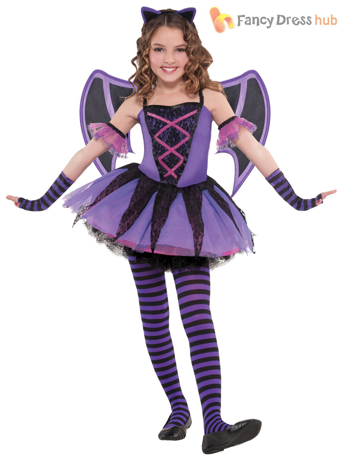 Details about Girls Ballerina Bat Tutu Halloween Costume Age