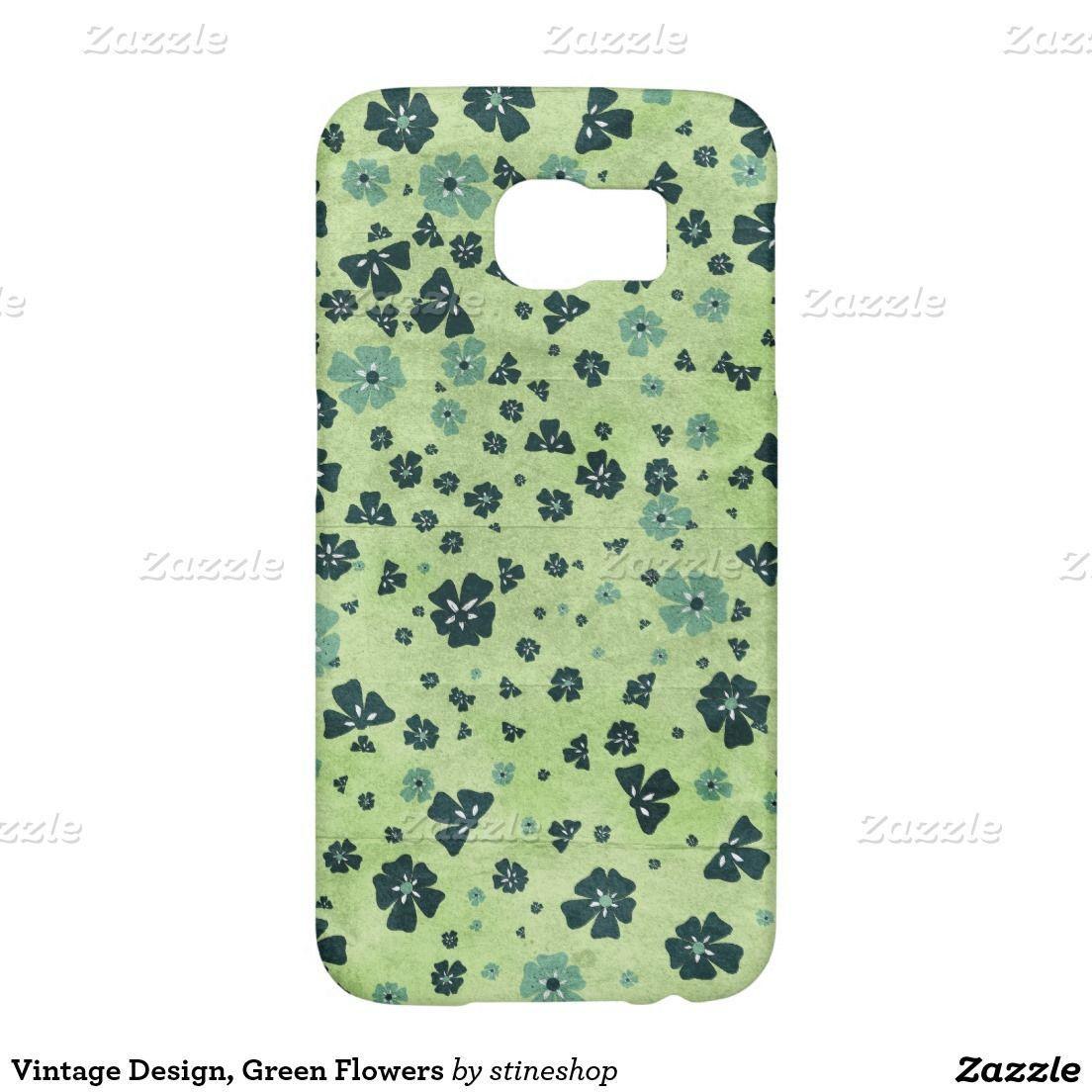 Vintage Design, Green Flowers Samsung Galaxy S6 Cases