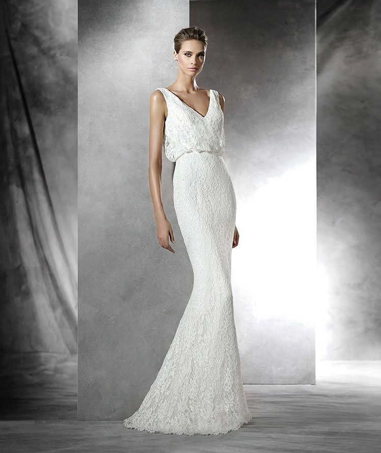 The New Design Short Flared Rebrod Lace Wedding Dress Blouson Bodice With Plunging Back Free Measurement